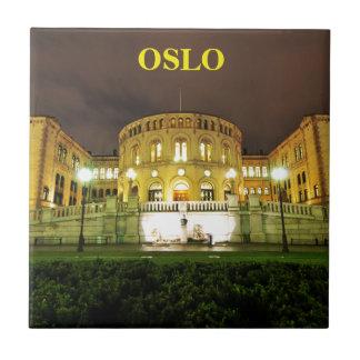 Azulejo De Cerámica Oslo, Noruega en la noche