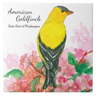 Azulejo De Cerámica Pájaro de estado del amarillo americano del
