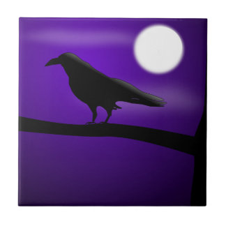 Azulejo De Cerámica Pájaro negro en la Luna Llena del cielo púrpura de