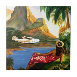 Azulejo De Cerámica Palmera hawaiana tropical del avión de mar del