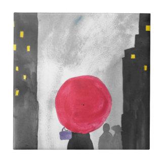 Azulejo De Cerámica Paraguas rojo