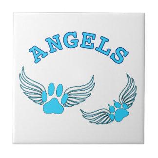 Azulejo De Cerámica Patas del mascota del ángel en azul
