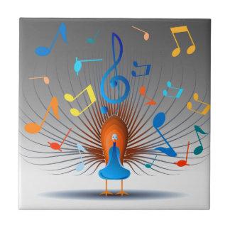 Azulejo De Cerámica Pavo real colorido de las notas musicales