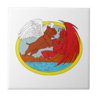 Azulejo De Cerámica Perro americano del matón que lucha el dibujo de