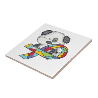 Azulejo De Cerámica Perro con la cinta de la conciencia del autismo
