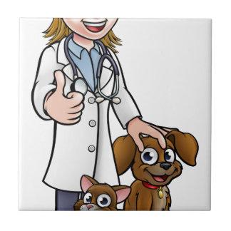 Azulejo De Cerámica Personaje de dibujos animados del veterinario con
