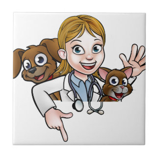 Azulejo De Cerámica Personaje de dibujos animados del veterinario de