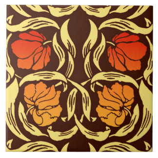 Azulejo De Cerámica Pimpernel de William Morris, naranja del moho y