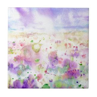 Azulejo De Cerámica Pintura abstracta del prado del wildflower de la