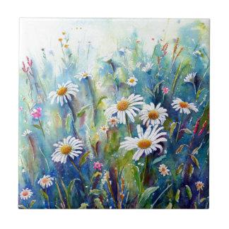 Azulejo De Cerámica Pintura de la acuarela del campo de la margarita