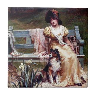 Azulejo De Cerámica Pintura de la señora y de dos perros caseros