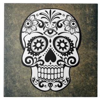 Azulejo De Cerámica Pizarra del cráneo del azúcar negro y blanco