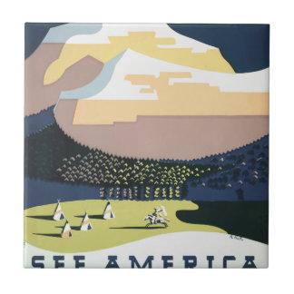 Azulejo De Cerámica Poster Montana América los E.E.U.U. del viaje del