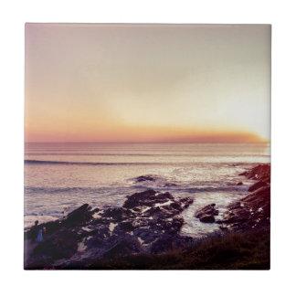Azulejo De Cerámica Puesta del sol de la playa de Fistral