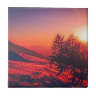 Azulejo De Cerámica Puesta del sol de la tarde Nevado
