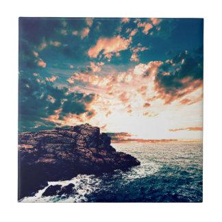 Azulejo De Cerámica Puesta del sol en el horizonte