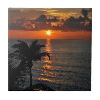 Azulejo De Cerámica Puesta del sol hermosa de Cancun