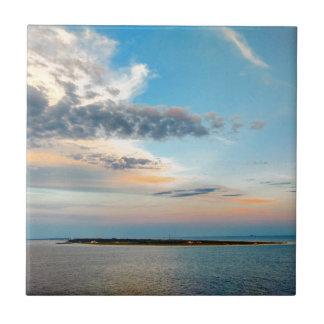 Azulejo De Cerámica Puesta del sol sobre la isla