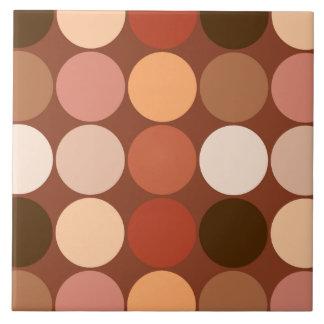 Azulejo De Cerámica Puntos gigantes de los mediados de siglo, marrón y