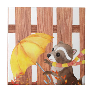 Azulejo De Cerámica racoon con el paraguas que camina por la cerca