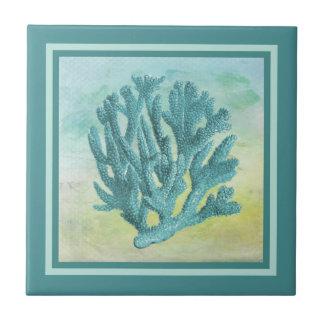 Azulejo De Cerámica Rama oscura del coral de la turquesa