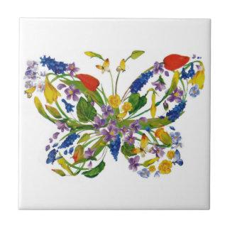 Azulejo De Cerámica Ramo floral de la mariposa de la flor salvaje