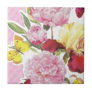 Azulejo De Cerámica Ramo rosado y amarillo floral del iris de la