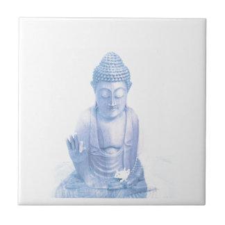 Azulejo De Cerámica ratón blanco azul y minúsculo de Buda