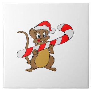 Azulejo De Cerámica Ratón con un bastón de caramelo del navidad