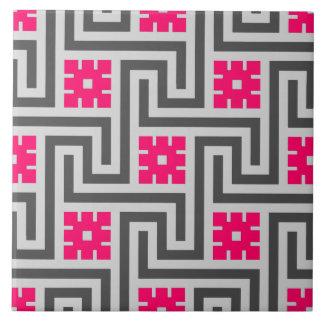 Azulejo De Cerámica Rosa gris/gris y del fucsia de la llave griega de