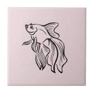 Azulejo De Cerámica Rosa siamés de los pescados que lucha