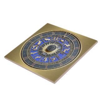 Azulejo De Cerámica Rueda azul del zodiaco
