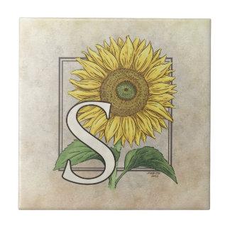 Azulejo De Cerámica S para el monograma de la flor de los girasoles