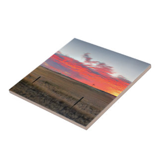 Azulejo De Cerámica Salida del sol de Montana