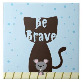 Azulejo De Cerámica Sea gato valiente y ratón lindo