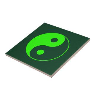 Azulejo De Cerámica Símbolo verde de Yin Yang