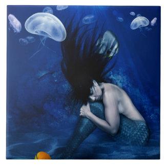 Azulejo De Cerámica Sirena que duerme en la parte inferior del océano