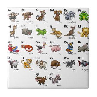 Azulejo De Cerámica Sistema animal de la carta del alfabeto