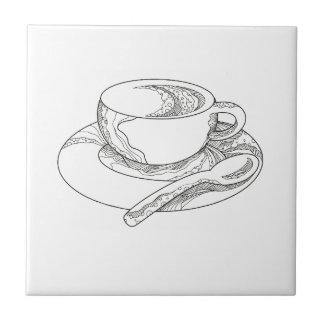 Azulejo De Cerámica Taza de Doodle del café