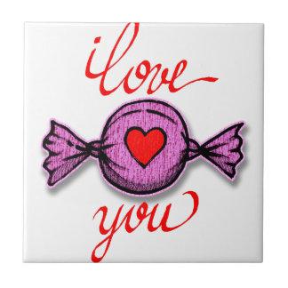 Azulejo De Cerámica Te amo (caramelo rosado)