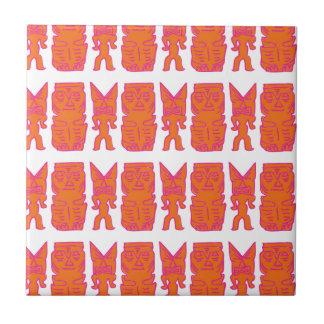 Azulejo De Cerámica Tiempo de Tiki en naranja