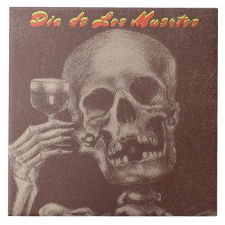Azulejo De Cerámica Tostada del cráneo de Tile Dia de Los Muertos