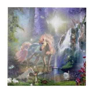 Azulejo De Cerámica unicornio y bebé de la madre de la fantasía