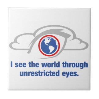 Azulejo De Cerámica Veo el mundo a través de ojos sin restricción