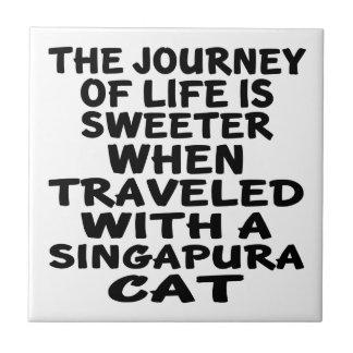 Azulejo De Cerámica Viajado con el gato de Singapura