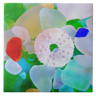 Azulejo De Cerámica Vidrio y erizo de mar Shell del mar