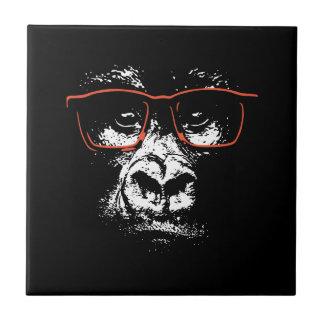 Azulejo De Cerámica Vidrios del rojo del gorila