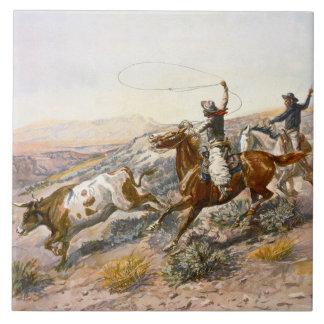 Azulejo De Cerámica Vintage Buccaroos Charles Marion Russell