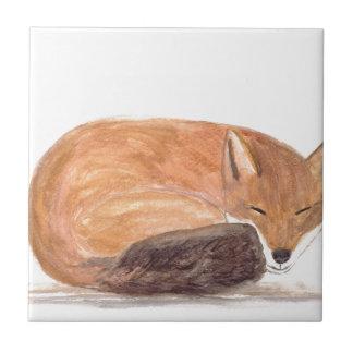 Azulejo De Cerámica Watercolour el dormir del Fox