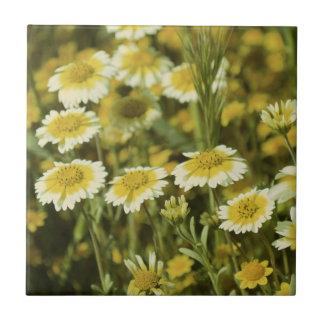 Azulejo De Cerámica Wildflowers amarillos y girasoles blancos